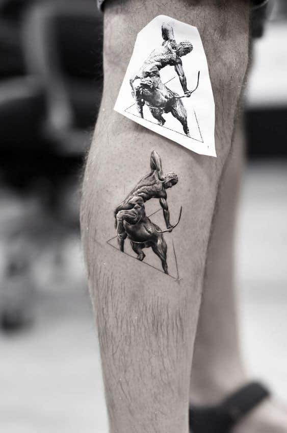 Man wearing a single needle tattoo on his calf