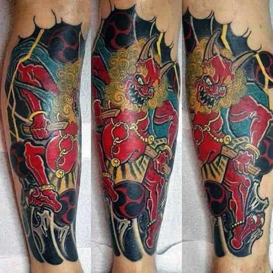Raijin tattoo on leg