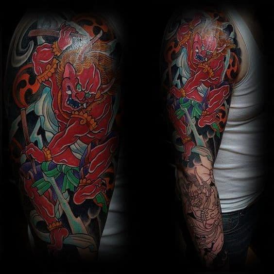 Raijin sleeve tattoo on arm
