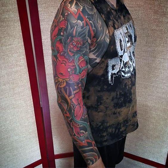 Raijin tattoo on arm