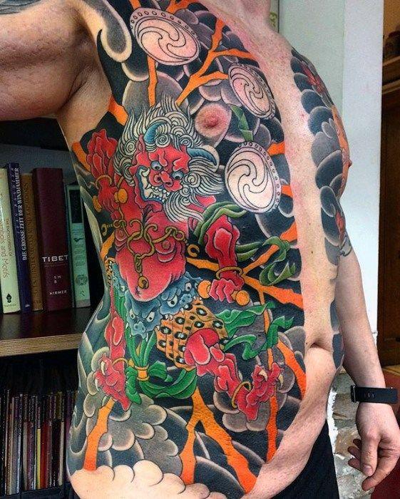 Raijin tattoo on abdomen
