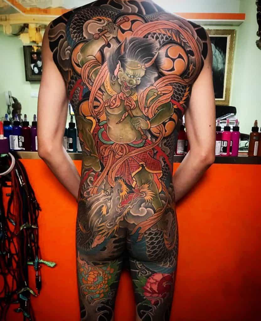 Large back-piece Raijin tattoo