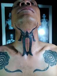 Dayak tattoo on the neck
