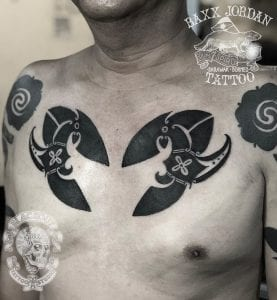 Dayak tattoo on the chest