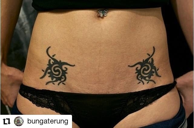Dayak tattoo on the abdomen