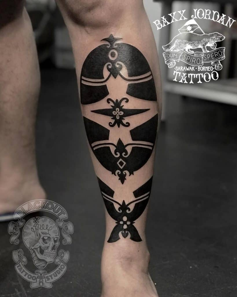 Dayak tattoo on the calf