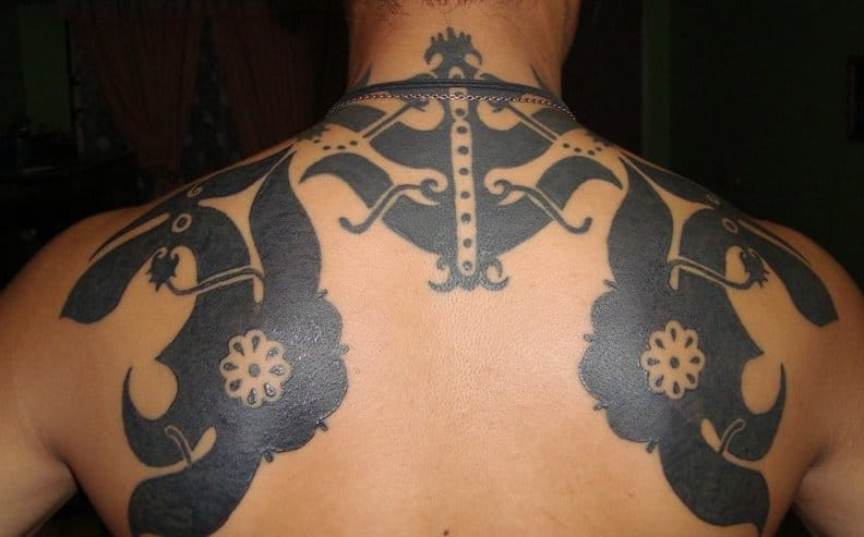 Dayak tattoo on the shoulder