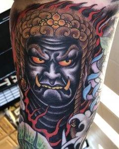 Fudo Myoo tattoo on the skin