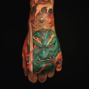 Fudo Myoo tattoo on the back of the hand