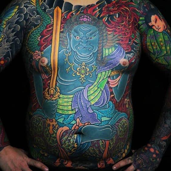 Large Fudo Myoo tattoo on the abdomen