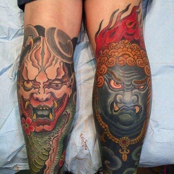 Fudo Myoo tattoo on the calf