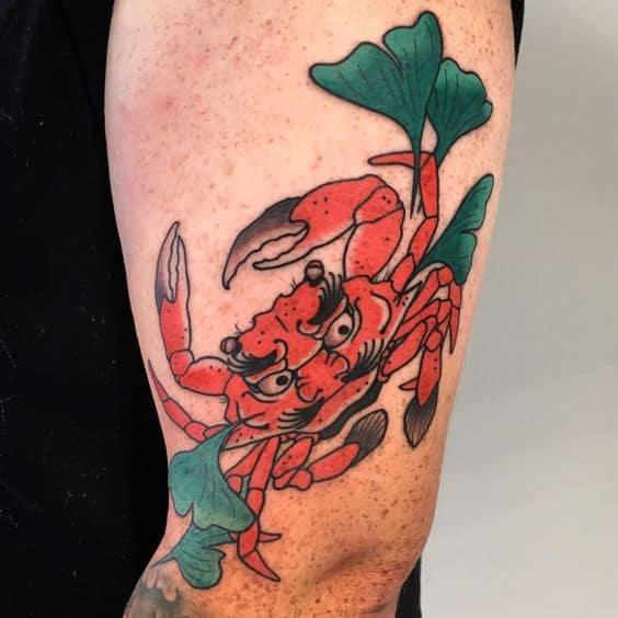 Heikegani tattoo on arm