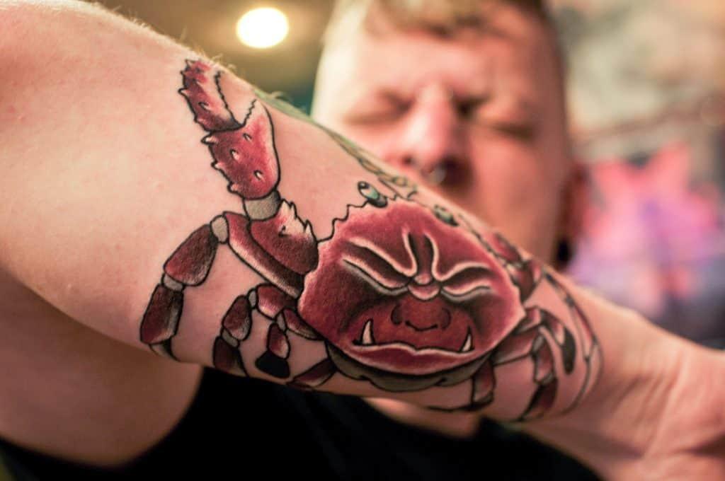 Heikegani tattoo on forearm