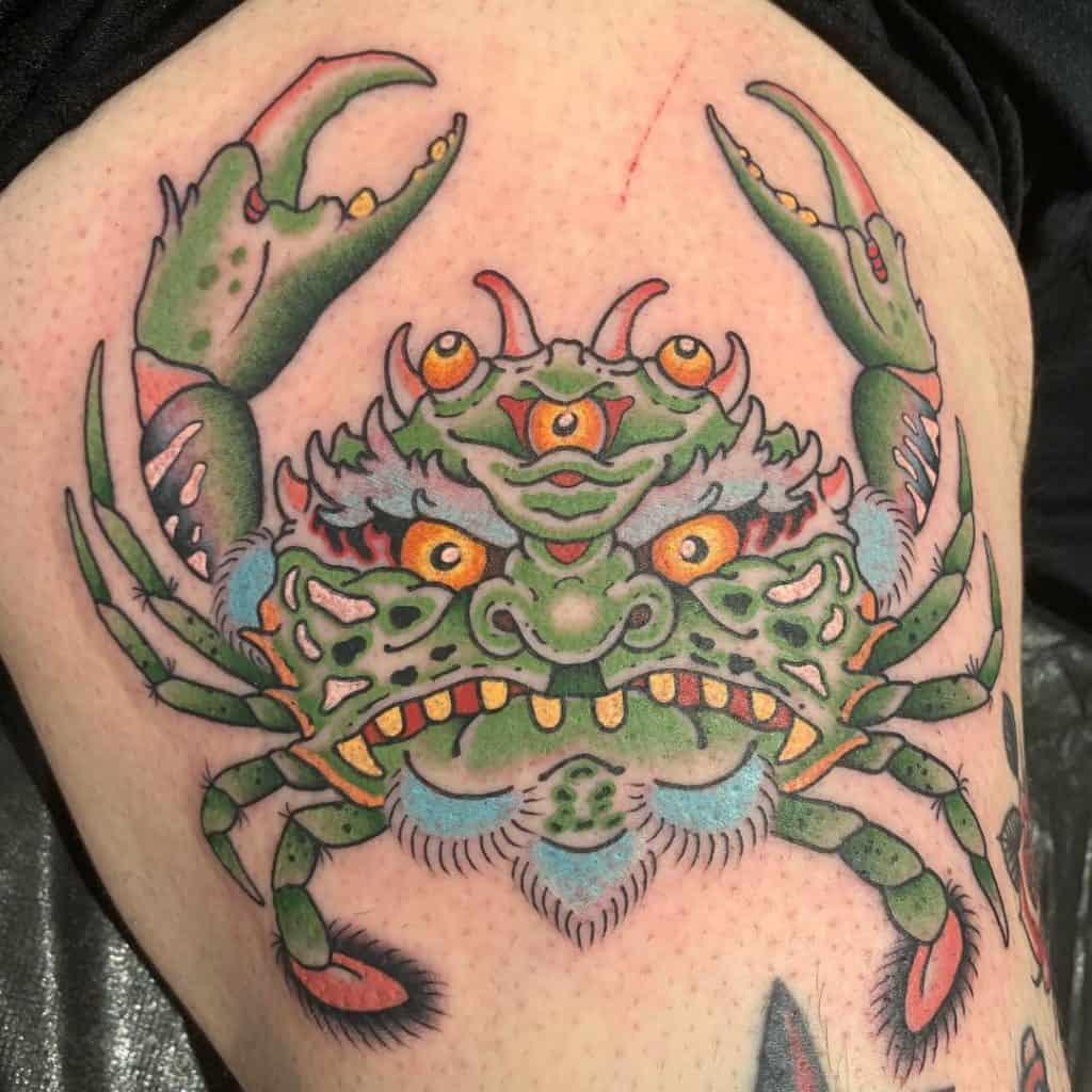 Heikegani tattoo on leg