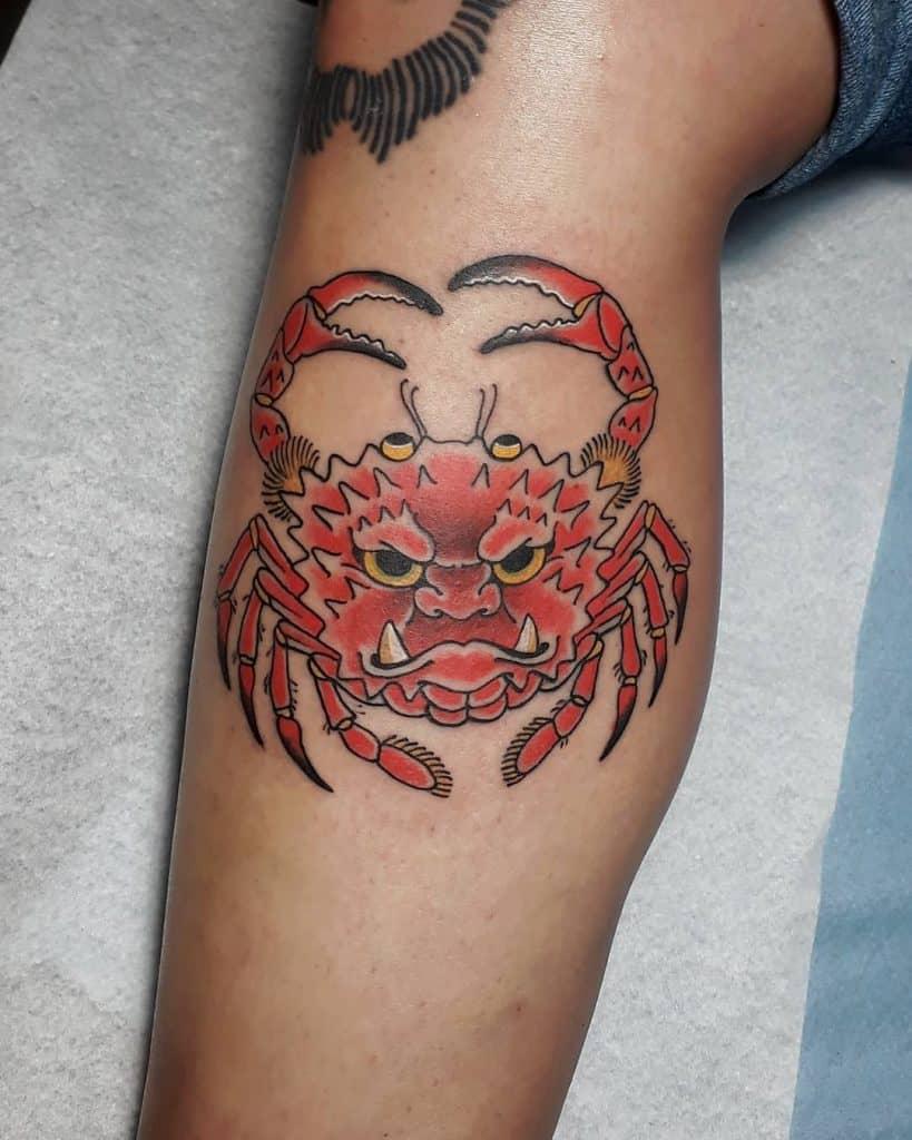 Heikegani tattoo on calf