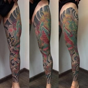 Kirin tattoo on the leg