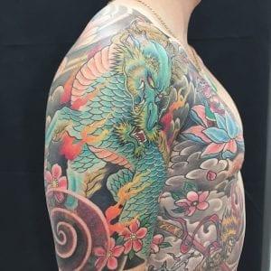 Kirin tattoo on the shoulder