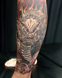 Kirin tattoo on the calf