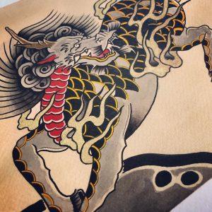 Kirin tattoo on the skin