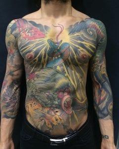 Nue tattoo on abdomen