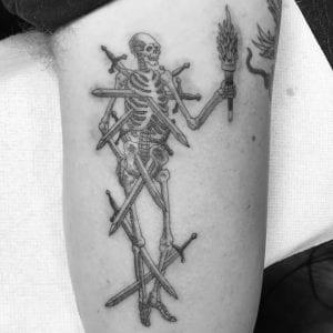 Single Needle tattoo on the arm