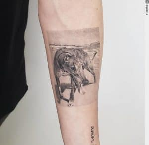 Single Needle tattoo on the forearm