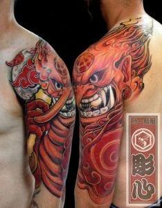Tengu Mask tattoo on the shoulder