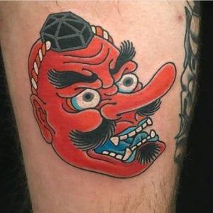 Tengu Mask tattoo on the skin