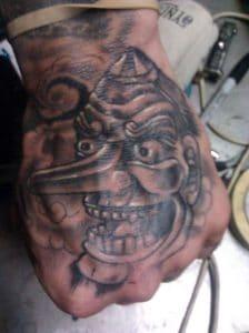 Tengu Mask tattoo on the hand