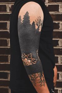 Blackwork tattoo on the arm