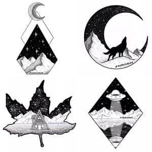 Multiple blackwork tattoo designs