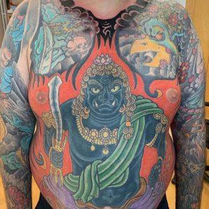 Fudo Myoo tattoo on the abdomen