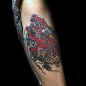 Karura tattoo on the skin