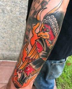 Karura tattoo on the forearm