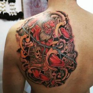 Raijin tattoo on the back