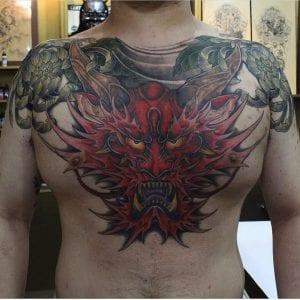 Raijin tattoo on the chest