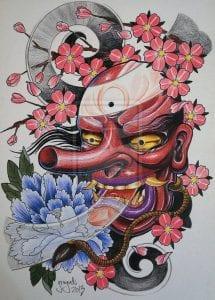 Tengu Mask drawing