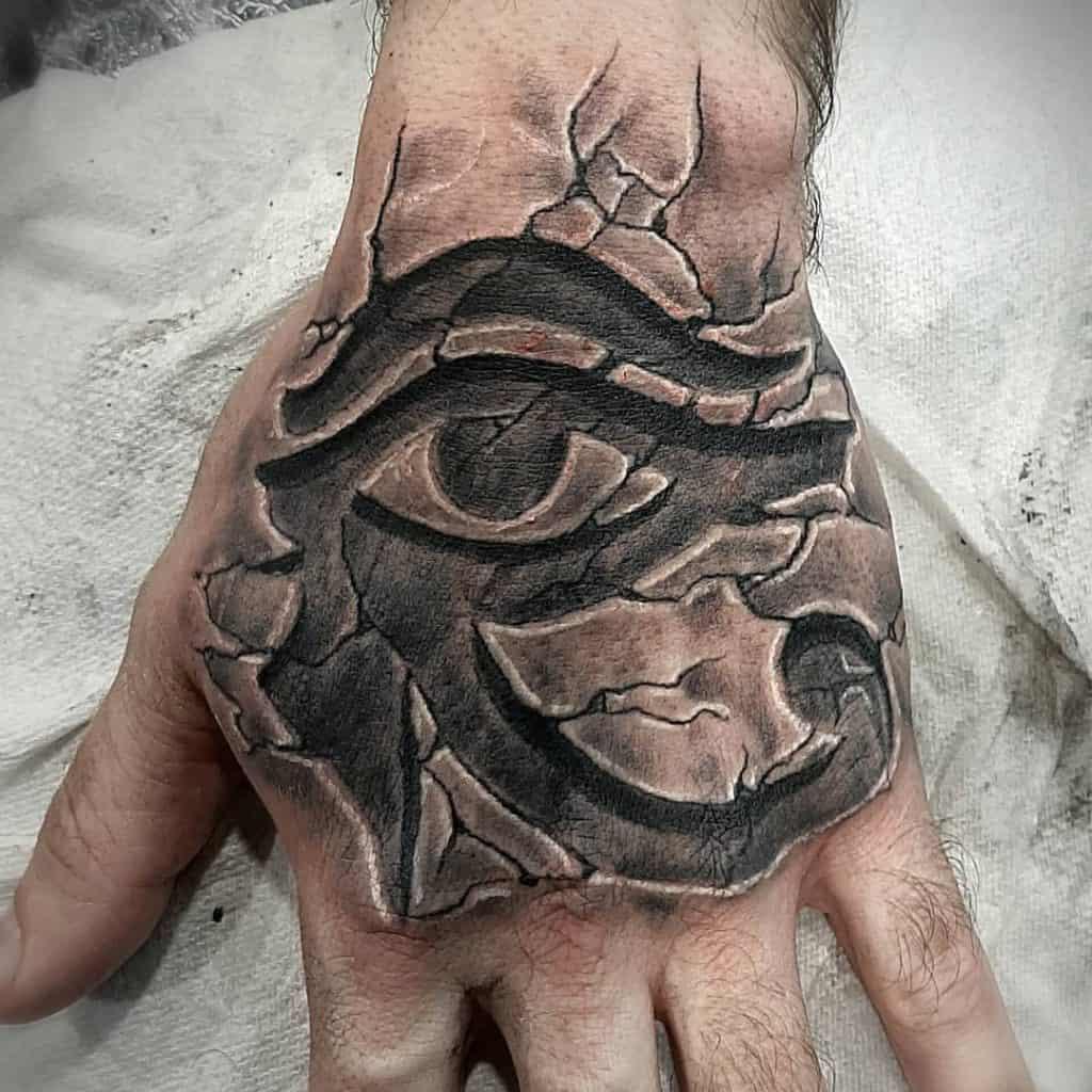 Eye of Horus tattoo on hand