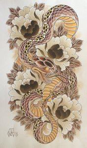 Japanese snake drawing