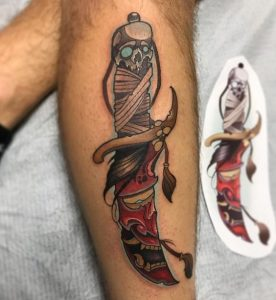 Oni mask tattoo