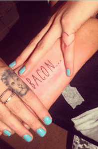 Cara Delevingne's lettering tattoo