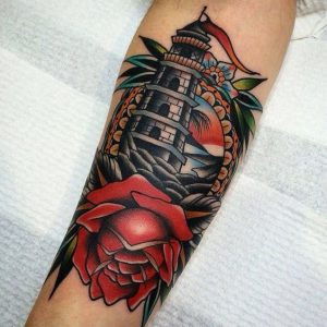 Flower andLighthouse Tattoo