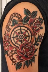American Traditional Compass Tattoo