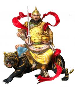 Caishen God riding a tiger