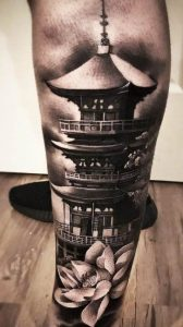Japanese temple tattoo
