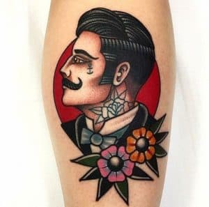 American Traditional Portrait Tattoo