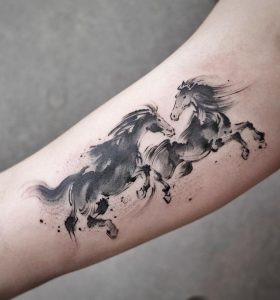 Black And Grey Watercolor Tattoo