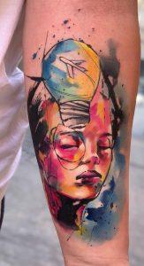Watercolor Light Bulb Tattoo