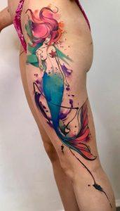 Watercolor Mermaid Tattoo