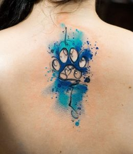 Watercolor Paw Tattoo